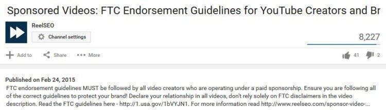 YouTube video description first 5 lines
